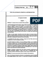 Acto Legislativo 03 de 2011. Sostenibilidad Fiscal