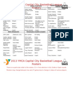 2013 YMCA Capital City League Draft Rosters