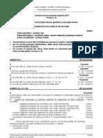 Modele de Subiecte Bacalaureat 2013 Proba Ed Scrisa Biologie Anatomie Si Fiziologie Umana Genetica Si Ecologie Umana Clasele 11 12 Barem