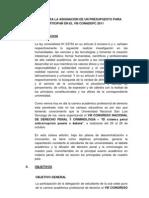 Proyecto Para La Asignacion de Un Presupuesto Para Participar en El Viii Conadepc 2011[1]