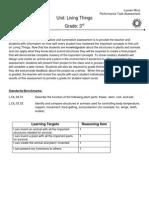 performance task assessment - living things