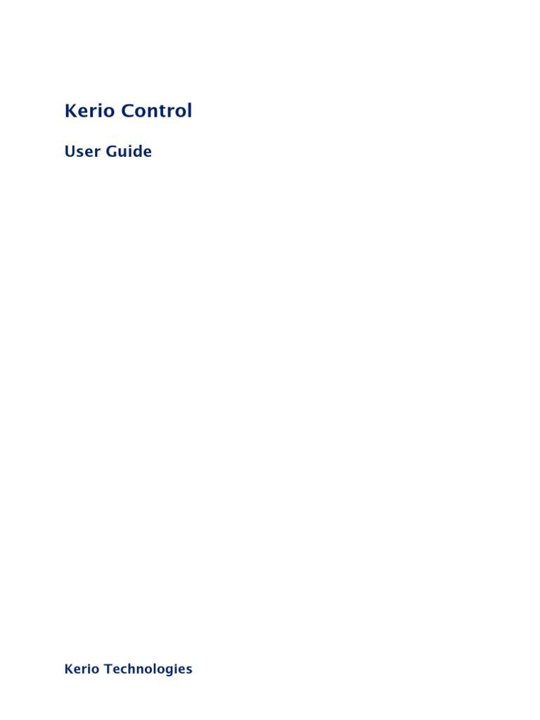 Kerio Control Userguide En 801 609 Login Technology