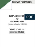 Nurture Allen iit enterance test paper