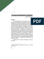 Filosofía, Investigación y Docencia
