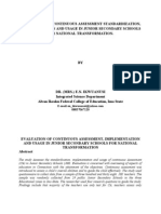 EVALUATION OF CONTINUOUS ASSESSMENT STANDARDIZATION, IMPLEMENTATION AND USAGE IN JUNIOR SECONDARY SCHOOLS FOR NATIONAL TRANSFORMATION
