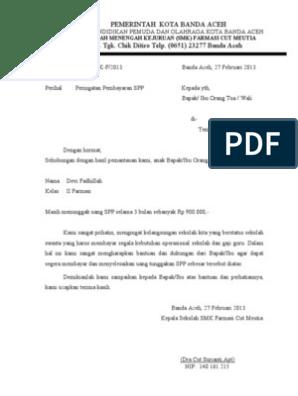 Surat Tunggakan Spp