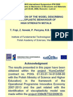Conference presentation - Identification of the model of Viscoplastic Behaviour of High Strength Materials