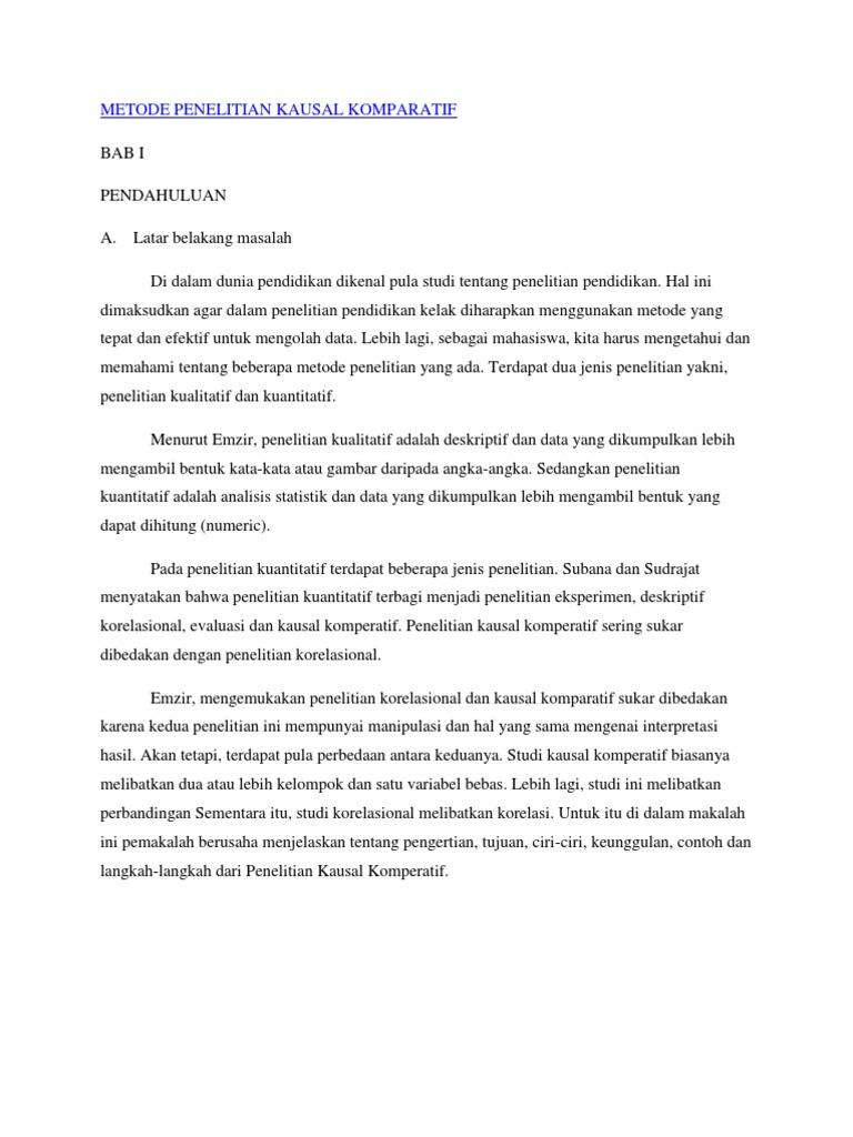 Metode Penelitian Kausal Komparatif