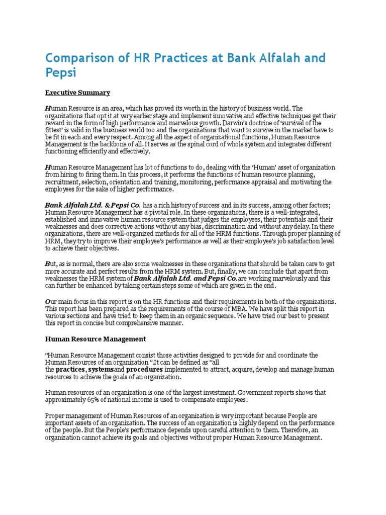 hrm report on pepsi