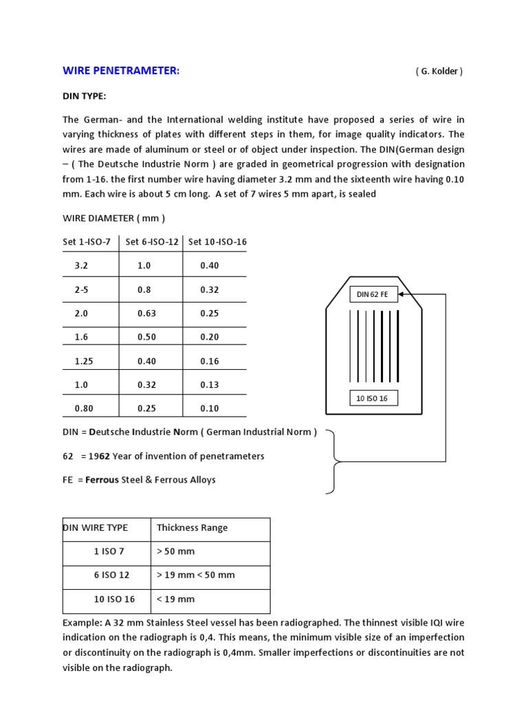 Rt Iqi Penetrameter Wire Wire Iron
