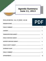 Agenda Summary 6-11-2013