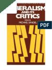 Michael Sandel - Liberalism and Its Critics