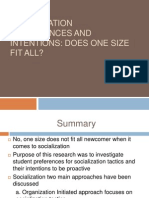 Socialization Preferences and Intentions