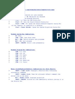 windows shortcut doc | Keyboard Shortcut | Computer Keyboard