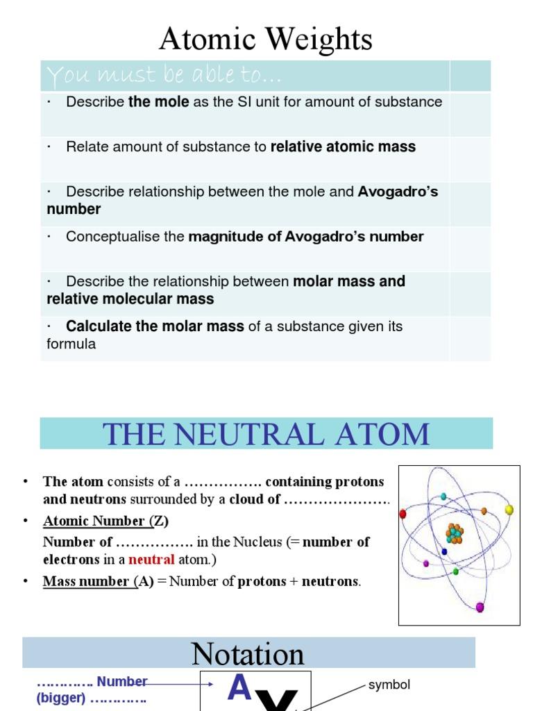 Mole Concept Mole Unit Atoms