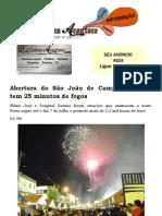Abertura do São João de Campina Grande tem 25 minutos de fogos