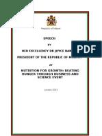 Final Speech for President Joyce Banda Malawi 8th June Nutrition Event