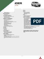 Outlander Spec Sheet