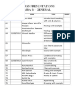 Excel Cals Ppt List