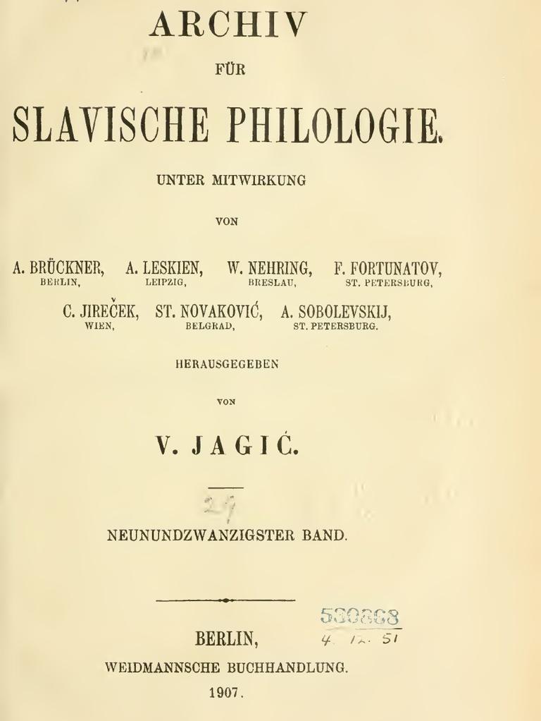 Archiv Für Slavische Philologie 29