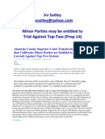 Minor Parties May Be Entitled to Trial Against Top-Two (Prop 14)