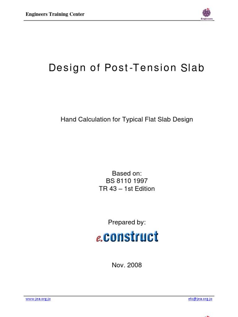 post tension flat slab design example prestressed concrete rh pt scribd com Concrete Drop Panel Steel Plate Flat Design Example