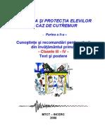 Educatia pentru protectia copiilor in cay de cutremur clasele III + IV