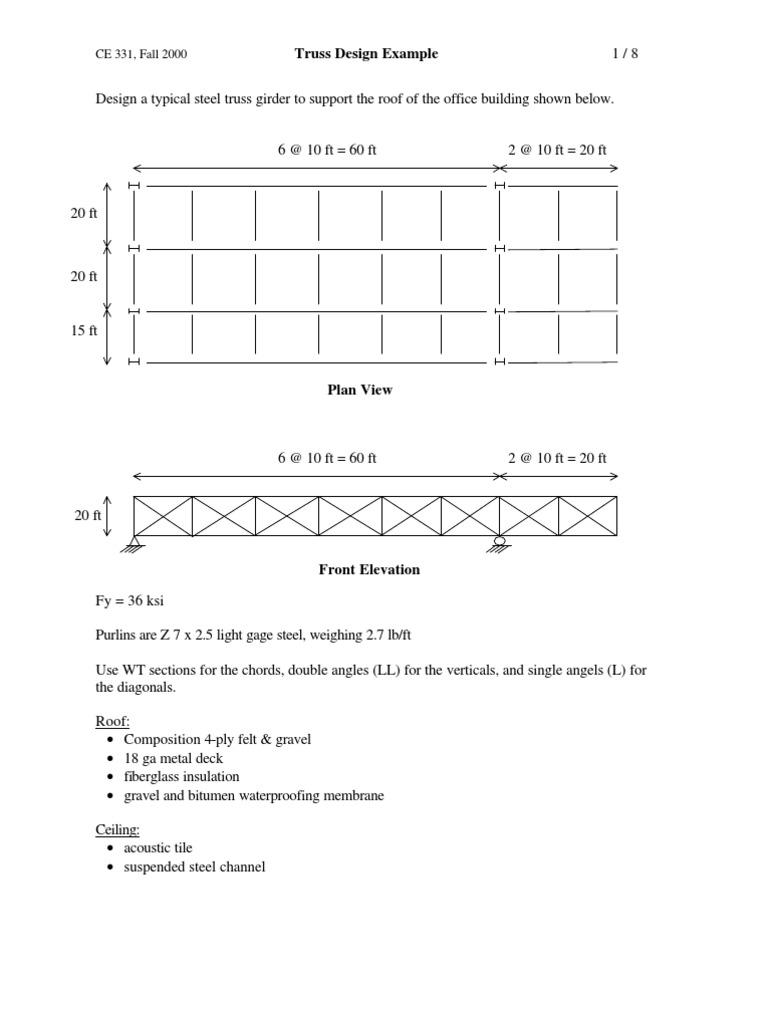 Truss Design Example | Truss | Civil Engineering