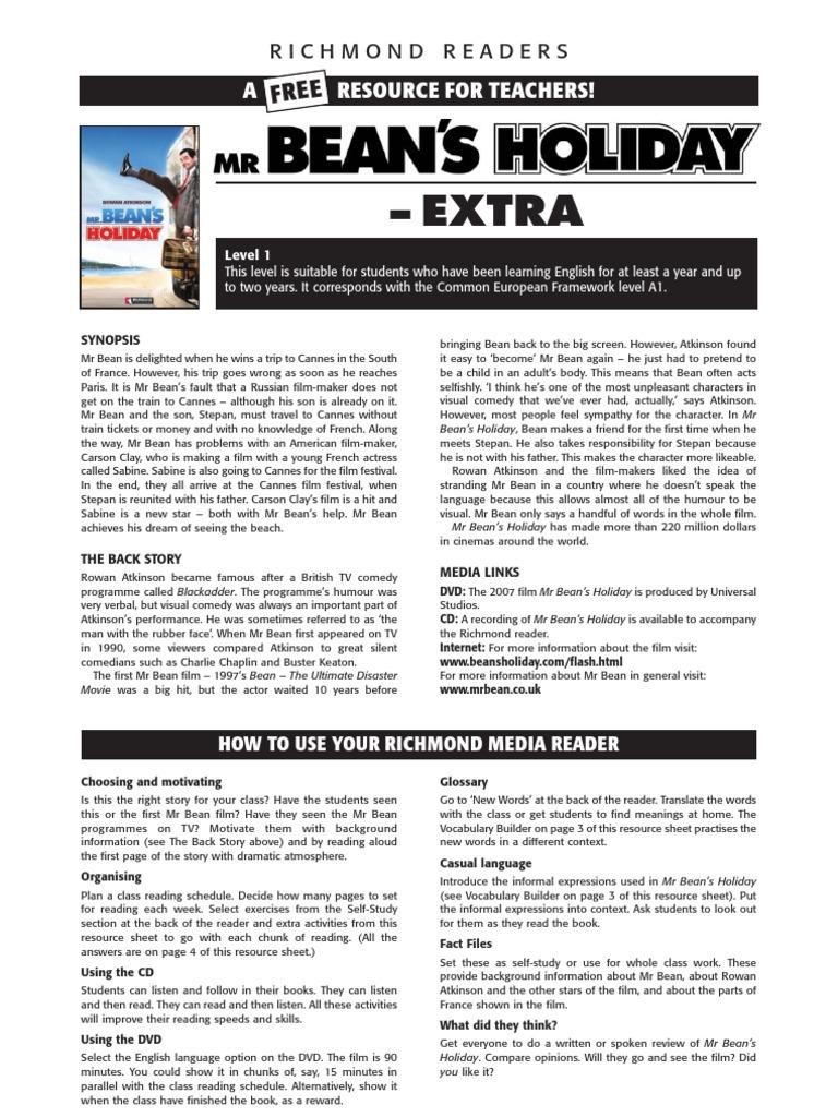 Worksheet Mr Beans Holiday | Leisure