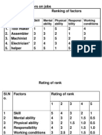 JE Factor Comparison