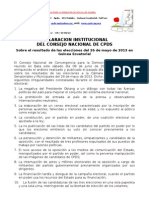 Declaracion Institucional CN Sobre Elecciones Mayo 2013