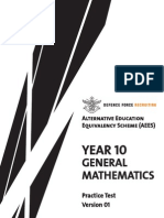Year 10 General Mathematics Practice Test