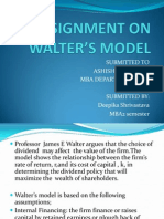 ASSIGNMENT ON WALTER'S MODEL