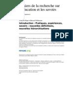 Cres 874 6 Introduction Pratiques Experiences Savoirs Nouvelles Definitions Nouvelles Hierarchisations