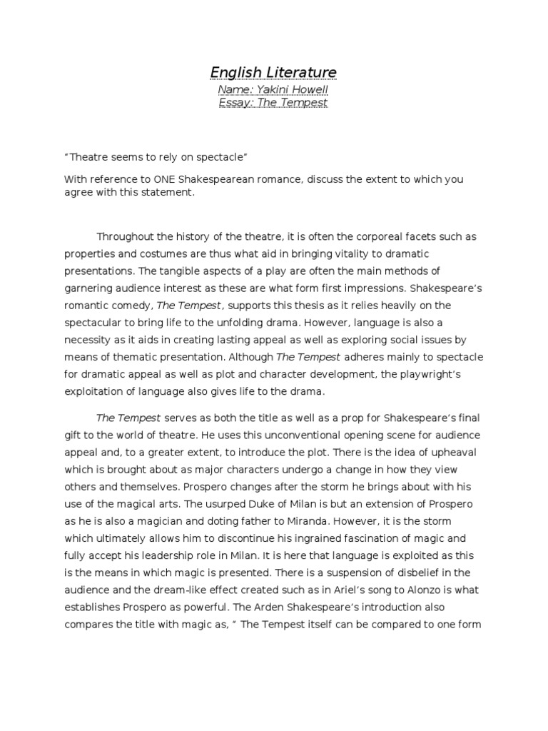 essay on social order in the tempest The tempest: review essays: social issues essay paper you can always order custom written paper which will be written from scratch by our professional.