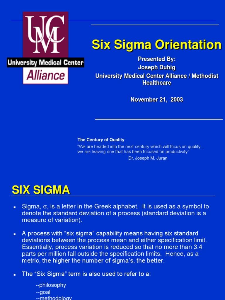 Duhig 1 Statistics Six Sigma