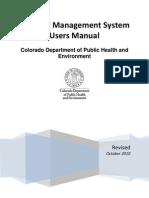 CDPHE CMS User Manual October2010