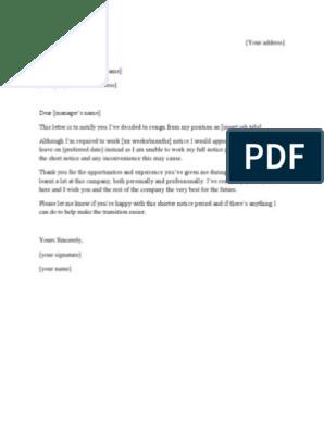 Short Notice Resignation Letter Template