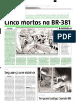 2005.09.26 - Cinco Mortos Na BR-381 - Estado de Minas