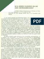 ¿Cómo fomentar el espíritu filosófico en las universidades centroamenricanas¿