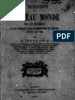 BEAUVOIS Eugène - La découverte du Nouveau Monde par les Irlandais et les premières traces du christianisme en Amérique avant l'an 1000 (1875)