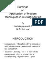 Seminar on application of mordern techniques in nursing