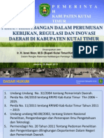 [Bupati Kutai Timur] Peran Kelitbangan Dalam Perumusan Kebijakan, Regulasi, Dan Inovasi Daerah Di Kabupaten Kutai Timur