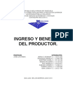 Ingreso y Beneficio Del Productor