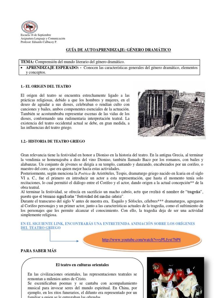 GUIA DE AUTOAPRENDIZAJE SOBRE GENERO DRAMÁTICO SÉPTIMO