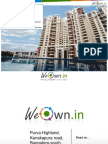 Purva Highland,Kanakapura Road,Bangalore South-ready to move in. WeOwn.in gives exclusive discounts to its user groups-call 80500 60099