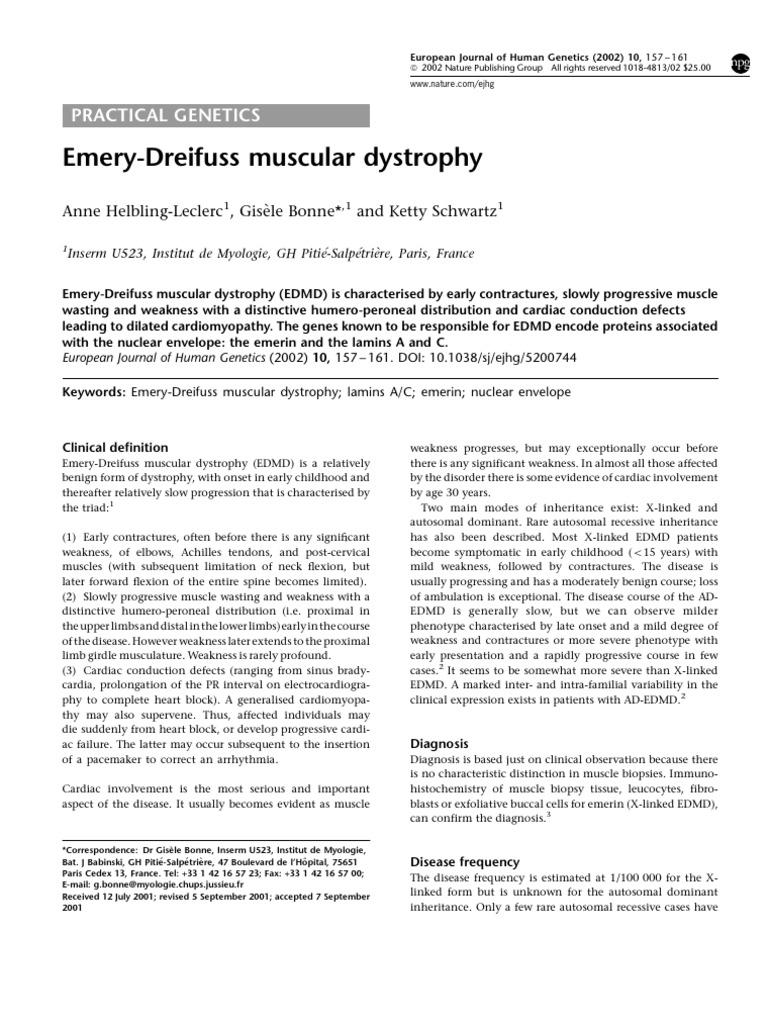 emery-dreifuss muscular dystrophy | cell nucleus | alternative splicing