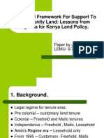 Legal Framework Supporting Community Land for Learning for Kenya Land Policiy Paper for KLA 8th June 2013