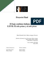 El Bajo Continuo Italiano en El s Xvii - Stile Primo Stile Pieno - Maria Gonzalez Calvo - Proy