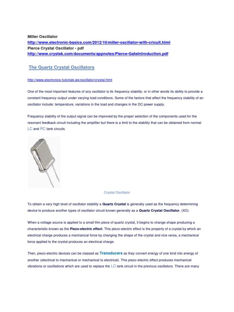 Unit 2 Miller Oscillator Electronic Amplifier Crystal Circuits